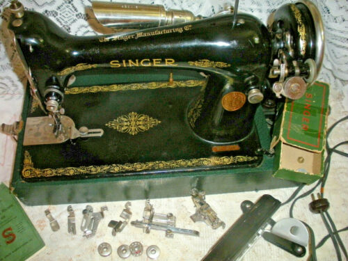 Vintage 1926 Singer Sewing Machine Model 66 in Case with Attachments + Book