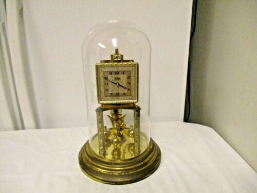 Vintage Kundo Kieninger & Obergfell Germany marked Anniversary Clock-Glass Dome
