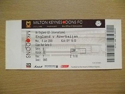Ticket- England U21 International - ENGLAND v AZERBAIJAN, 8 June 2009 (Unused)