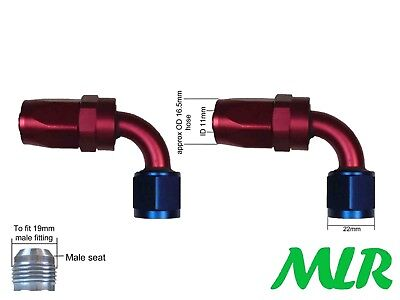 MLR AN-8 JIC 90 DEGREE RED BLUE OIL COOLER REMOTE FILTER HOSE PIPE FITTINGS PAIR