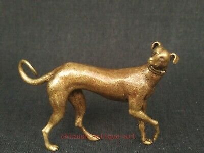 Collection Chinese Old Bronze Carving Lovely Dog Pendant Statue Decoration