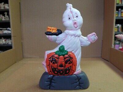 "Vintage Hand Painted Ceramic Stuffed Look Halloween Ghosts W/ Jack-o-Lantern 8"""