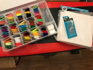 Embroidery kit with thread needle and canvas