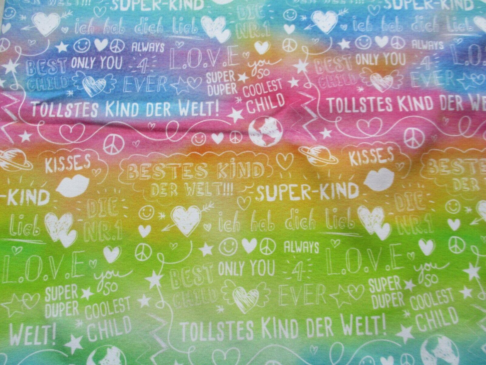 Süßer Jersey Stoff NEU 0,5 m x 1,50 m VB NEU Stoffwelten Beste Kind Rainbow EP
