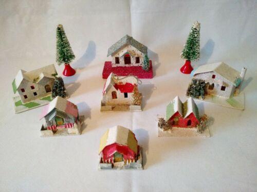 7 Christmas Cardboard  Putz Houses + 2 bottle Brush Trees – 1930's-40