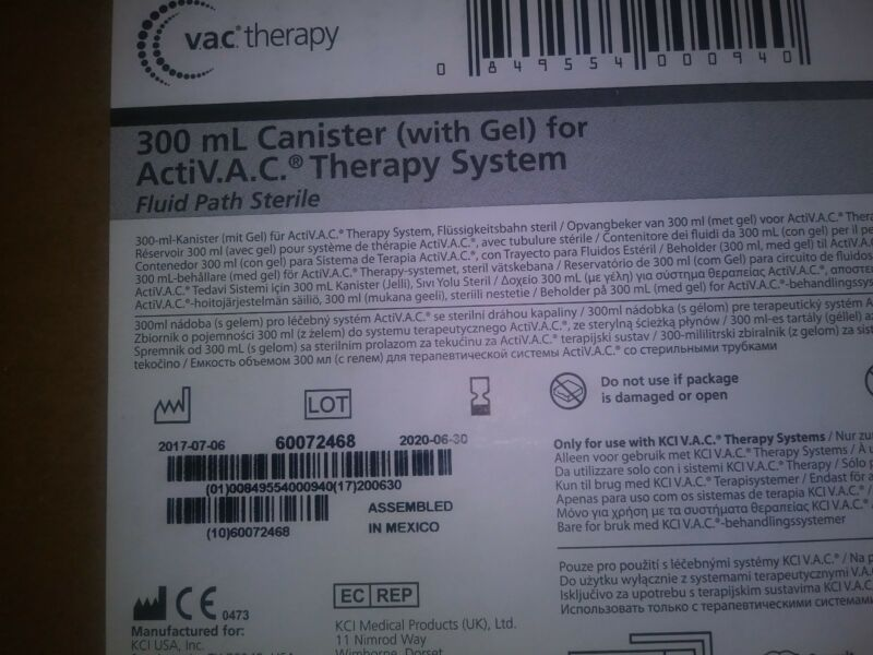 KCI 300mL Canisters (with GEL) for Acti-VAC THERAPY M8275058 / BOX OF 5