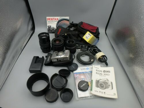 Camera mixed lot, 135mm f2.8 pk mount DJL lamp,small camera bags, filters & nore