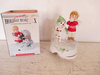 Fine Porcelain Music Box Boy, Snowman, Dog -Plays We Wish You A Merry Christmas