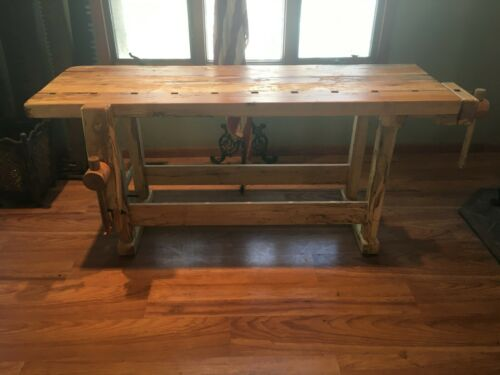 VINTAGE CARPENTER WORKBENCH (SPECTACULAR SPALTED MAPLE)