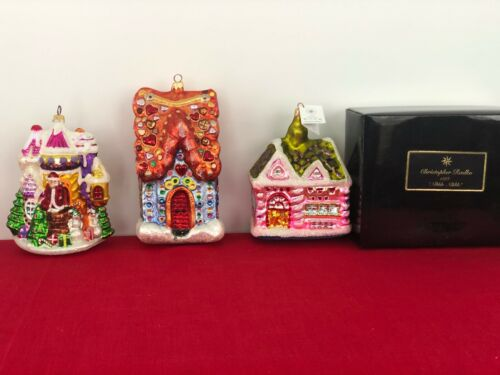 Retired Christopher Radko Christmas Cottage Group of 3 Hand Blown Ornaments