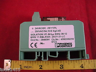 Phoenix Emg 17-relksr 2421-21-lc Contact Relay Module 24v Ac Dc -2010 5a