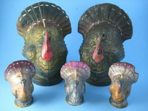 "Vintage Gurley Thanksgiving Turkey Candles Two Large 6.5"" Three Small 3"" Unused"