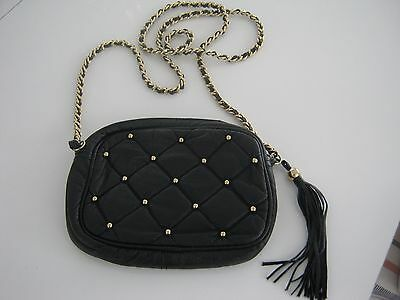 (Black and Gold Purse/bag with Tassel and Braided Strap)