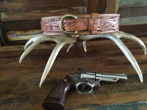 Tex Shoemaker Border Patrol Style Brown Floral Carved Leather Holster Gun Belt