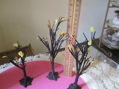Dept 56 SV Halloween - Spooky Black Glitter Trees - Set of 3 -