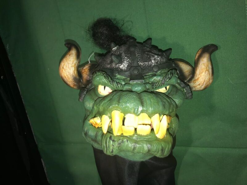 Rare Halloween Green Goblin Orc Monster Trick Or Treat Puppet Candy Eating Bag