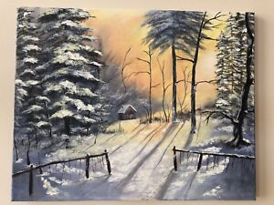 Winter landscape acrylic painting on canvas wall decor