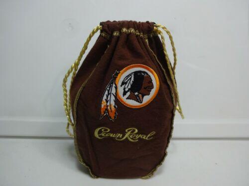 "Custom Crown Royal 750 ml Bag Medium Sz 8"" Brown Washington Redskins Bag au1"