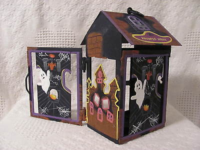 "Halloween 8-1/2"" Heavy Metal Candle Holder Lantern Haunted House"