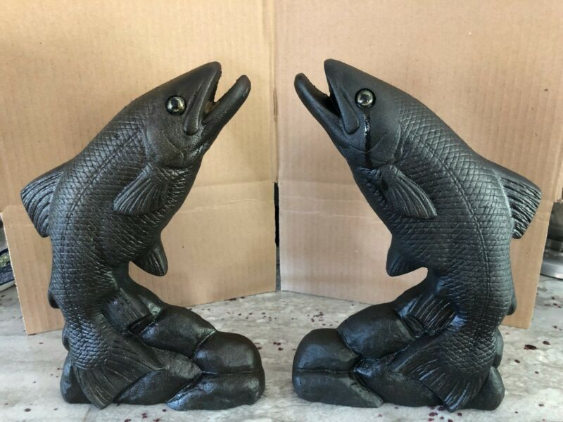 Fish andirons, cast iron, excellent condition