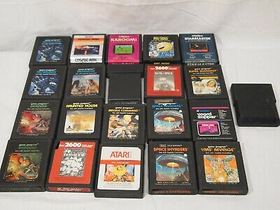 Atari 2600 21 Game Cartridges Word Zapper Space Invaders Asteroids Pac Man Jr Ms