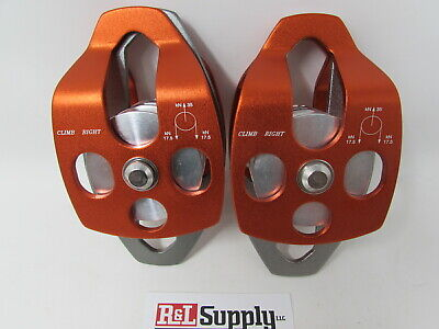 2 Pack - 34 Double Pulley 34 Capacity Arborist Climbing Rigging 35kn 7800lb