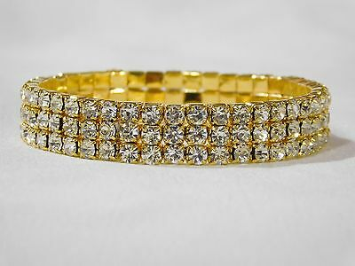 3 ROW GOLD CLEAR RHINESTONE BRIDAL STRETCH BRACELET BANGLE 3 Row Stretch Rhinestone Bracelet