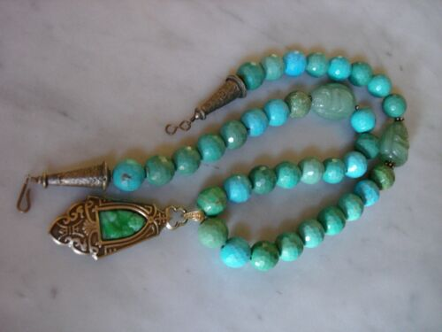 Chinese Turquoise Necklace w/ Antique Art Nouveau Buddha Sterling Pendant