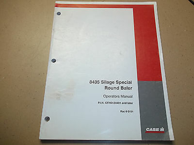 Case Ih 8435 Silage Special Round Baler Operators Manual Revised 1998