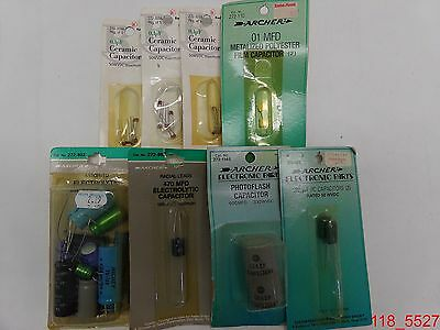 Mixed Lot Of 8 Radioshack Ceramic Polyester Electrolytic Photoflash Capacitors