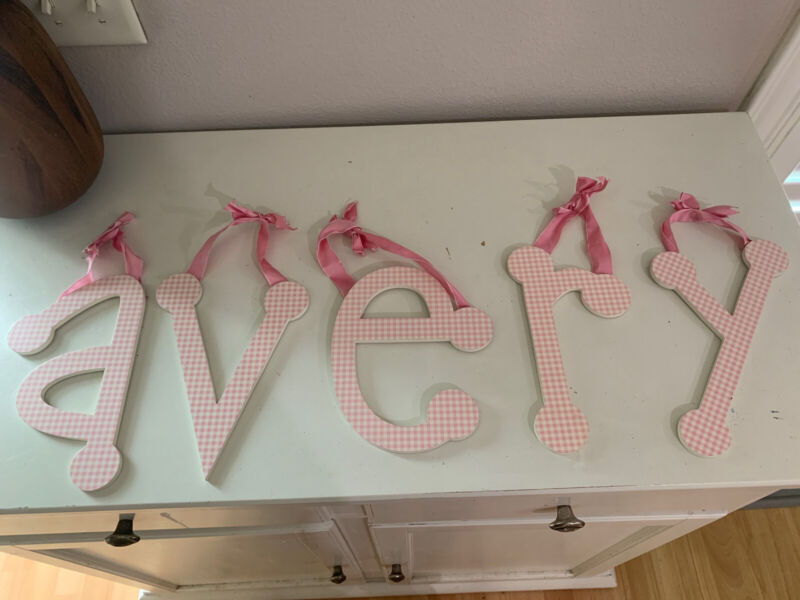 """Pink And White Gingham Hanging 9"""" Letters - AVERY"""
