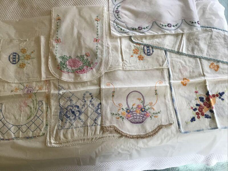 lot of 8 vintage dresser scarves, embroidered