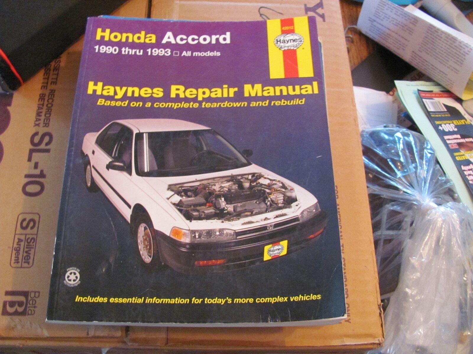 Haynes 42012 Repair Manual Honda Accord 1990 through 1993