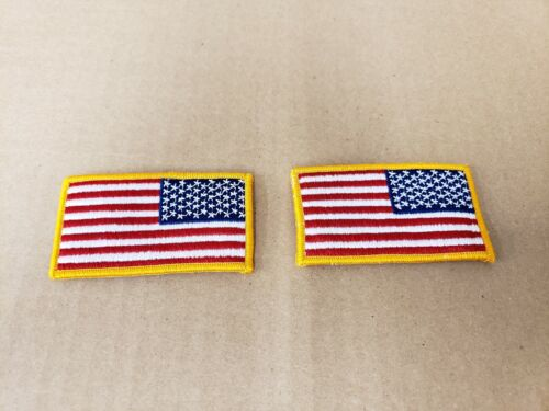 LOT OF 2 US American Flag Reverse Shoulder Patch yellow Border. MADE IN THE USA