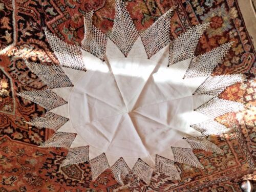 """Antique COTTON TABLECLOTH, ORNATE with 10"""" edges of lace"""