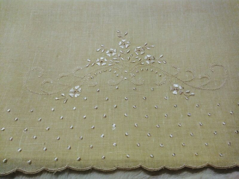"""Wow Madeira Embroidered in Medium Yellow on Yellow Linen Hand Towel 29.5 x 17"""""""