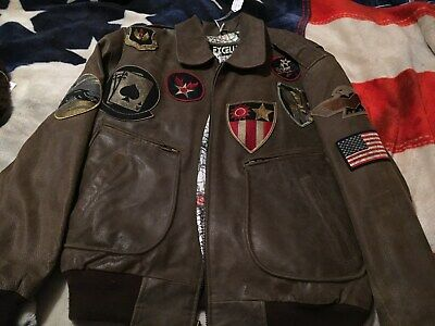 Top Gun Jacket (Excelled Bomber Jacket Leather Top Gun Type G-1 size Large with patches)