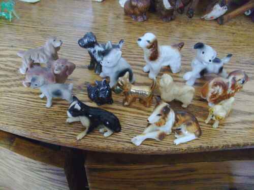 "Vintage Lot of 14 Porcelain dogs, approximately 1"" - 2"" - 2 12"" , 2 plastic"