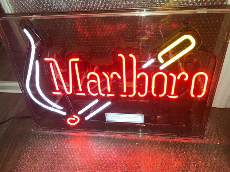 "Marlboro Cigarette Vintage Neon 21"" x 15"" Man Cave, Bar Sign Beautiful FREE SHIP"