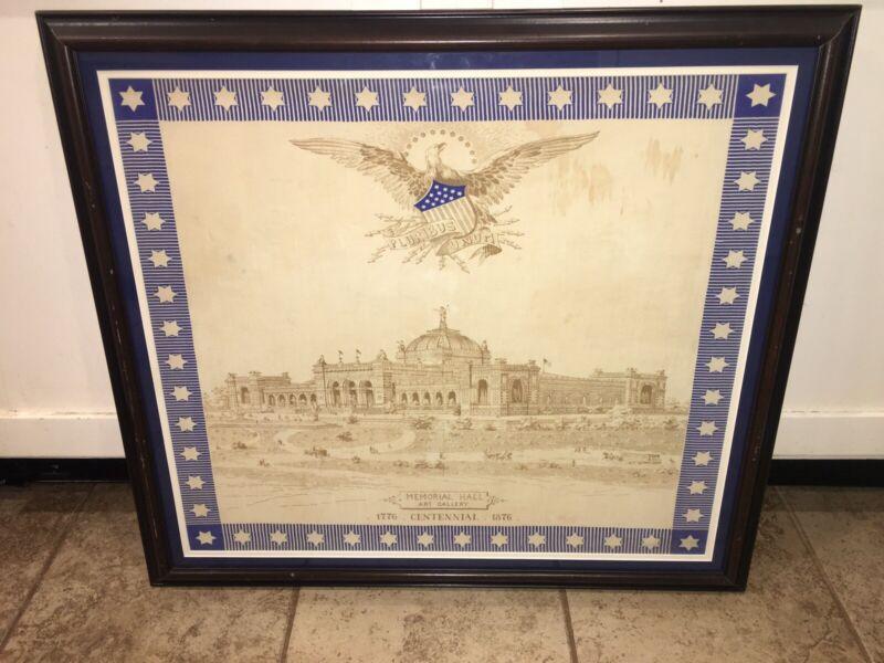 Historical Cotton Memorial Hall 1776 1876 Centennial  Exhibition Handkerchief