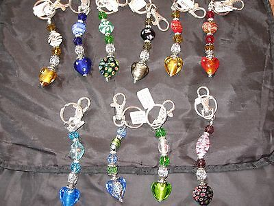 Colorful Artesian Glass Heart Keychain Clip Hook Key Ring NEW! (Glass Heart Keychain)