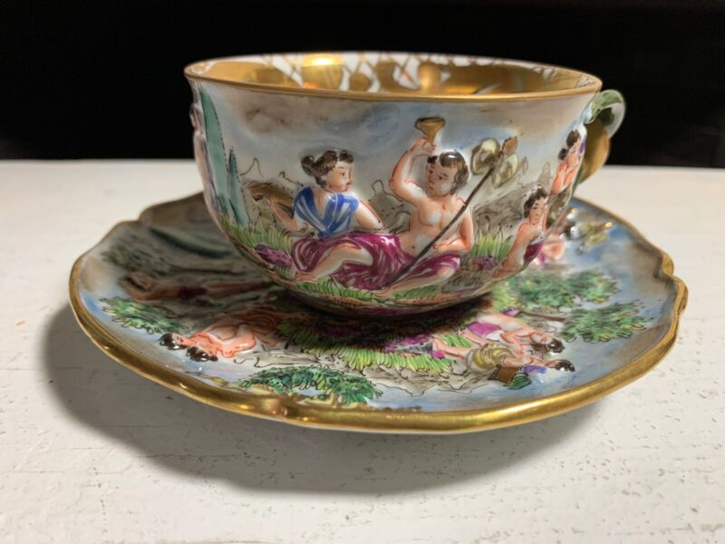 Italian Antique, Capodimonte Demitasse Cup and saucer, Made 1800s, Heavy 3D