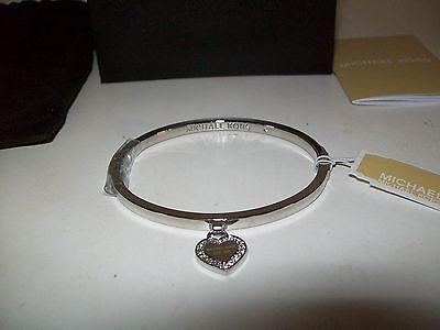 Michael Kors Silver Tone Logo Crystal Heart Charm Bangle Hinged Bracelet New