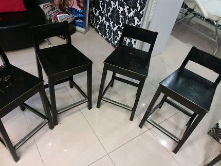 Ikea hardwood bar stools with stainless steel kicker