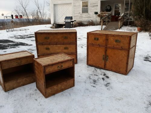 Vintage campaign style bamboo,brass and wood nightstands or end tables