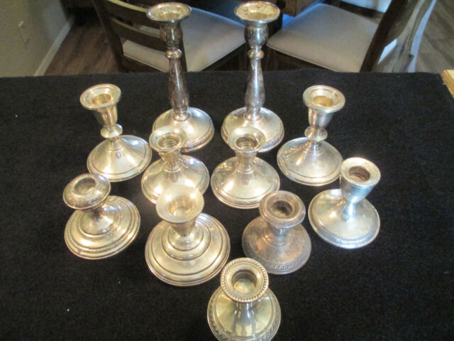 LOT OF 11 STERLING SILVER WEIGHTED CANDLE HOLDERS FOR SCRAP 2920 GRAMS