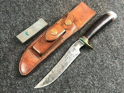 "VTG 1950's RANDALL KNIFE "" 7 SPACER W/HEISER SHEATH BROWN BUTTON"