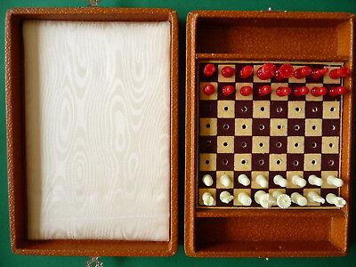 Schachspiel Reiseschachspiel in Box 50iger Jahre Vintage Rarität für Sammler