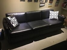 Black leather 3 seater (free delivery) Kidman Park Charles Sturt Area Preview