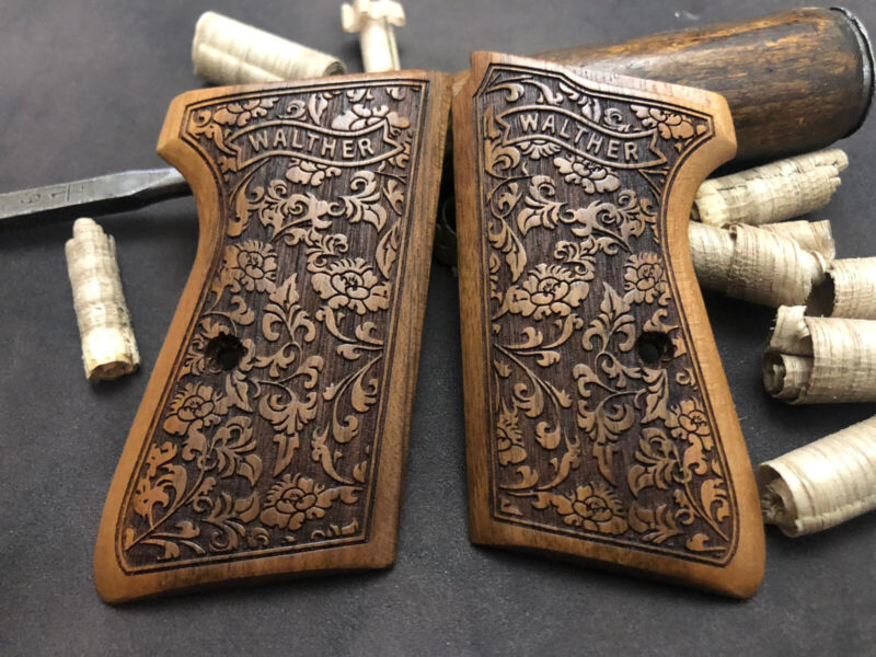 Walther PPK/S Walnut Wood Grips Set. Floral. Handmade. ** FAST USA SHIPPING **